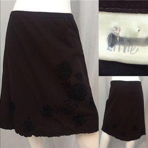 Size 8 Anthro Lithe Embellished A-line Brown Skirt